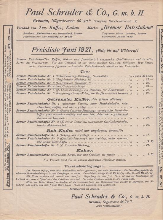Schrader Preisliste 1921